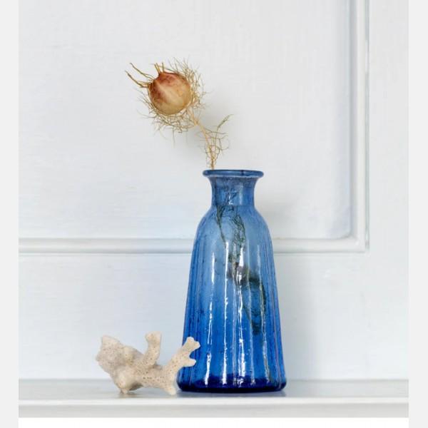Recycled lapis glass vase