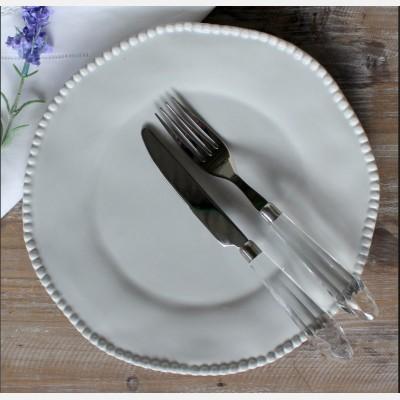 Dove Grey Rose Maria Dinner Plate