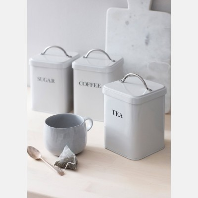 Coffee Tea sugar canisters in Chalk