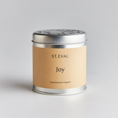 Joy tin candle