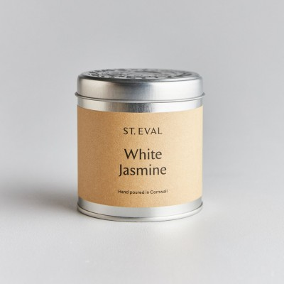 White Jasmin tin candle