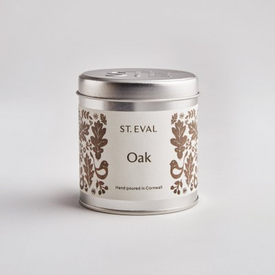 Oak tin candle